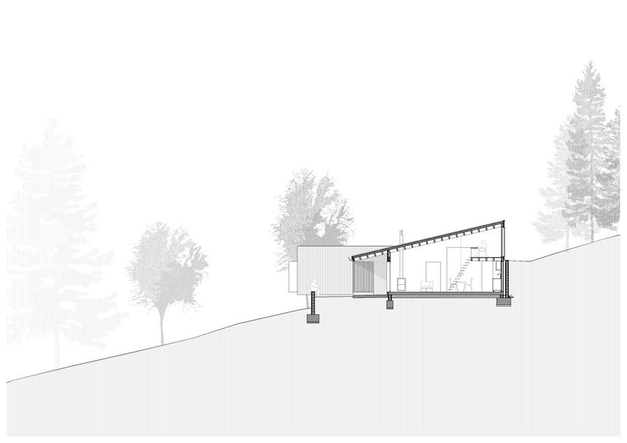Vivienda entramado ligero de madera con criterios Passivhaus (Sección)