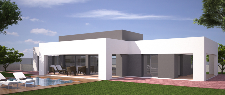 Vivienda unifamiliar aislada y piscina ideas arquitectos - Fachadas de casas modernas planta baja ...