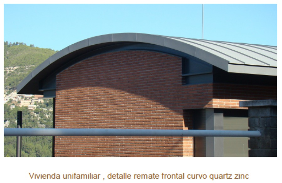 Vivienda unifamiliar, detalle remate frontal curvo quartz zinc