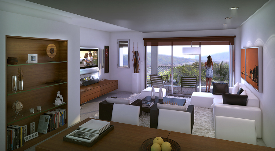 Foto zona del sal n en loft cocina comedor sal n de for Cocinas de 15 metros cuadrados