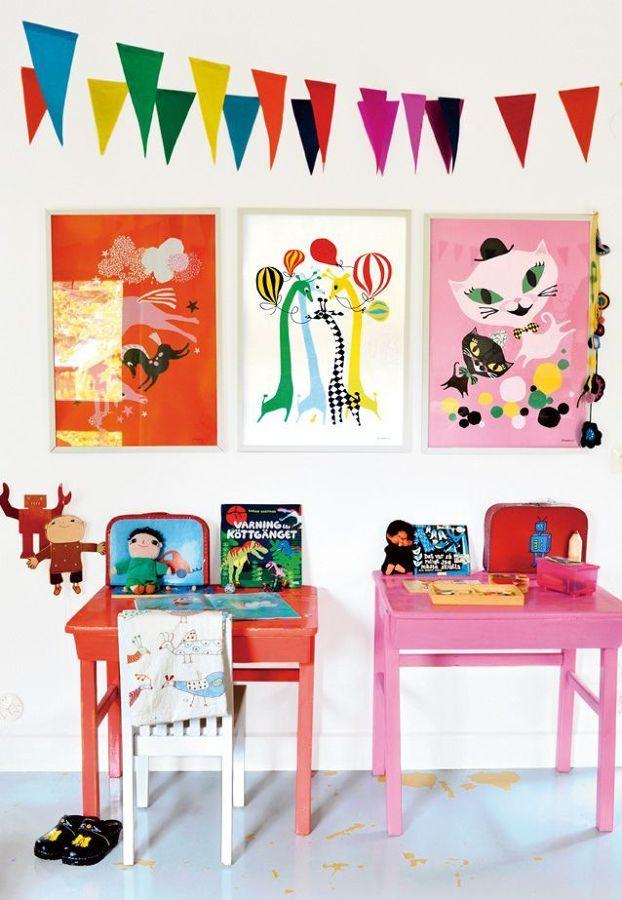 Zona para pintar en dormitorio infantil