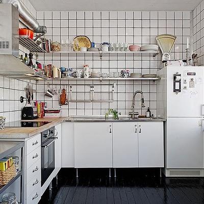 cocina con suelo negro