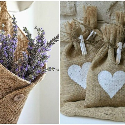 Ideas y fotos de tela de saco para inspirarte habitissimo - Bolsitas de tela de saco ...