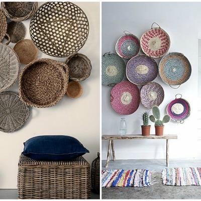 decorar con colección de cestas