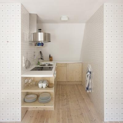 Cocina lineal en madera
