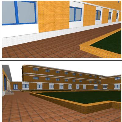 Proyecto de reparación de patio principal en complejo residencial educativo
