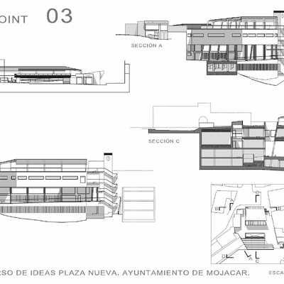 Concurso de ideas con intervención de jurado para la Construcción de un Edificio Administrativo, Aparcamiento Subterráneo y Rehabilitación de Plaza Pública en Mojacar. Almería.
