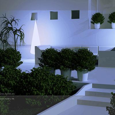 Ambientación 3D de la terraza de una vivienda unifamiliar.