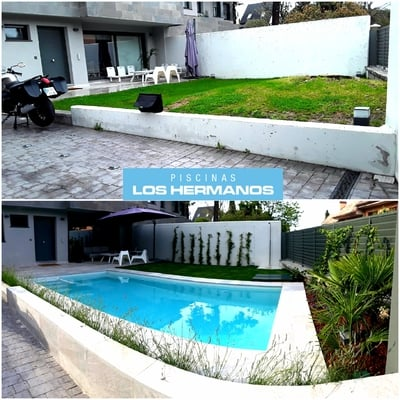 Construcción piscina completa de obra con mármol y gresite efecto irizado blanco