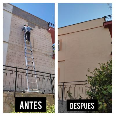 Rehabilitación y pintura de fachada de casa de 2 plantas