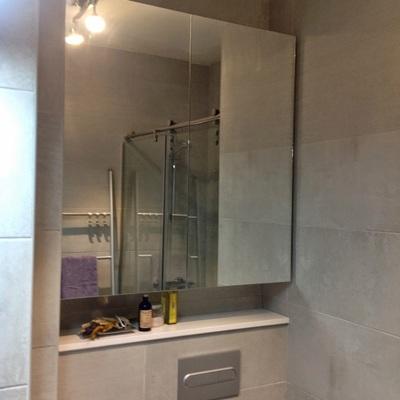 Armario colgado con puertas de espejo y cisterna oculta