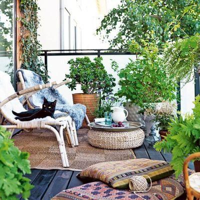 Balcón con fibras naturales