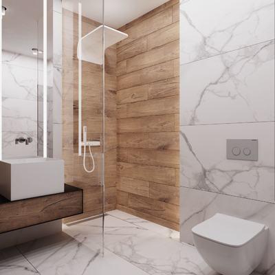 baño con ducha forrada en porcelánico imitación mármol y madera y mampara fija