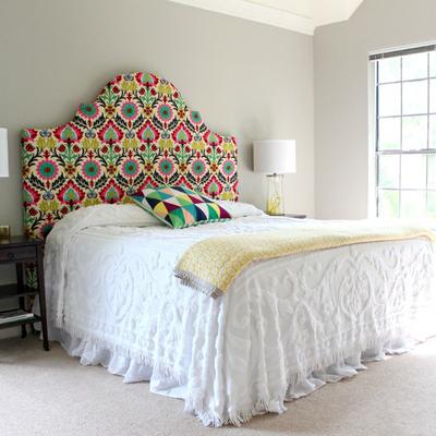 Cabecero de cama hecho con tela