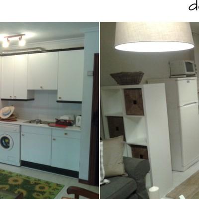 Antes y después de la reforma en el salón de un piso