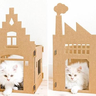 Cartón casa gatos