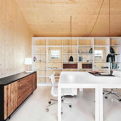 Casa de madera área de trabajo