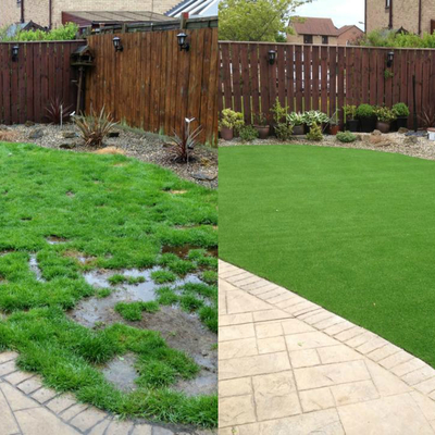Jardin con cesped artificial. Antes y Despues