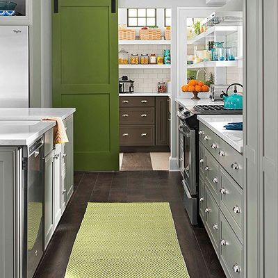 puerta coredera verde Cocina