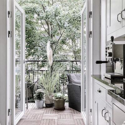 Blanco, madera y plantas conforman este acogedor apartamento