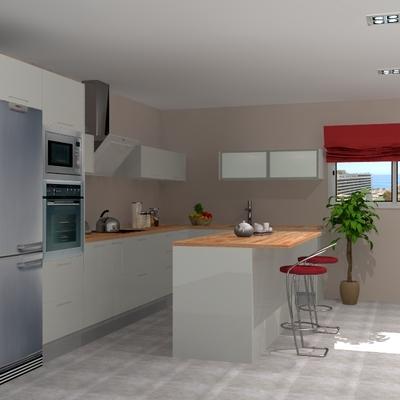 Cocina con isla integrada al salón