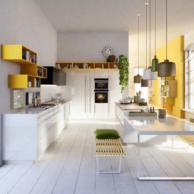 cocina con módulos de almacenaje color amarillo minion