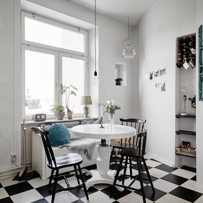 10 ideas para decorar con suelos de ajedrez