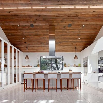 Cocina techo madera