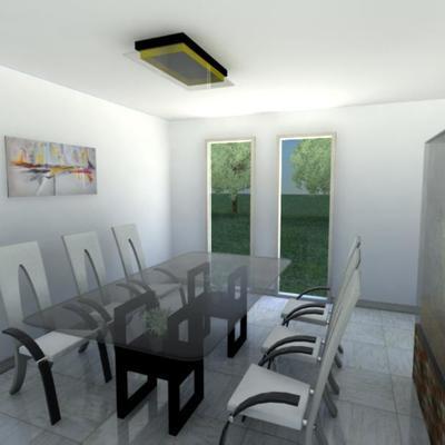 Diseño de interiorismo en 3D de salón y comedor