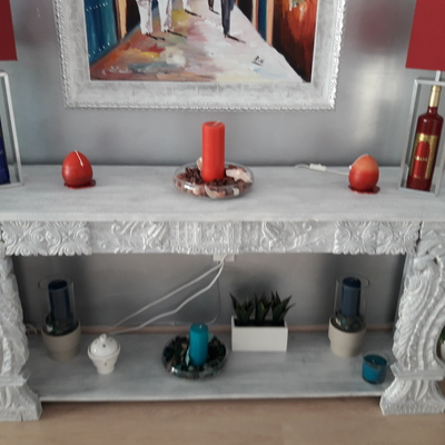 Pátina mueble aparador plata y pared plata