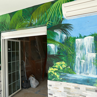 Mural tropical para terraza particular