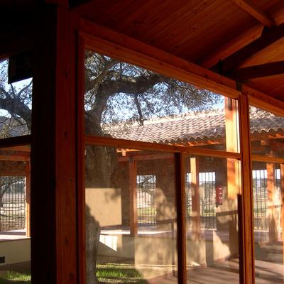 Detalle cubierta teja sobre estructura madera