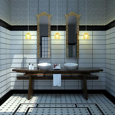 Diseño Aseo Japones, mueble lavabo puerta Torii