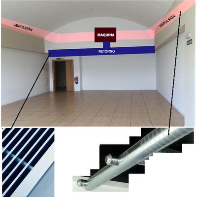 Instalación de un sistema de climatización por conductos vistos y toberas de impulsión direccionables
