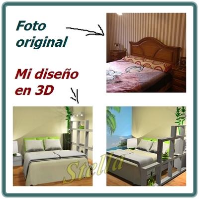 Diseño de un dormitorio en 3D de imagen foto realista