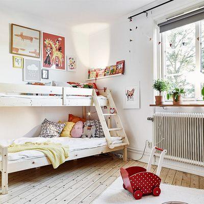 dormitorio con literas estilo nórdico