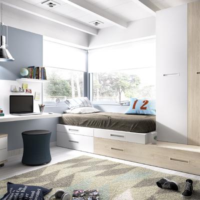 Dormitorio infantil en tonos azul y beige