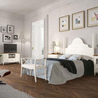 Dormitorio madera blanco, con pie de cama.