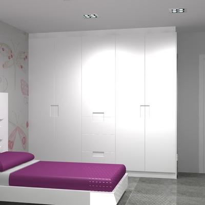 Dormitorio para niña lacado en blanco.