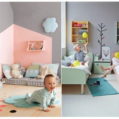 Dormitorios niños con detalles y objetos en verde agua marina