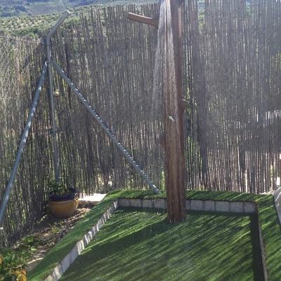 Ducha piscina efecto madera