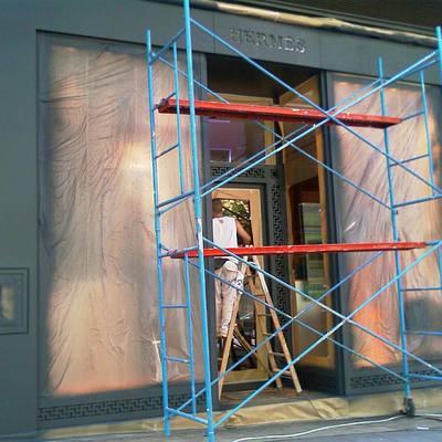 Pintando escaparates...