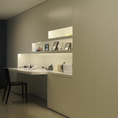 escritorio y estantes