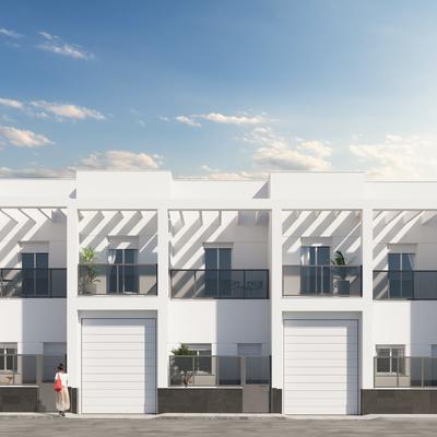 Estudio CGM Infografías. Render 19 dúplex y viviendas con local, Roquetas de Mar, Almería
