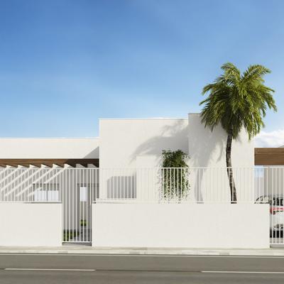 Estudio CGM Infografías. Render 4 viviendas con piscina. La Alfoquía, Almería