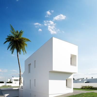 Estudio CGM Infografías. Render vivienda unifamiliar con piscina, El Toyo Almería