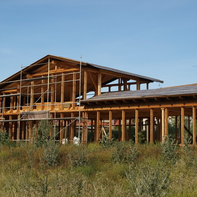 estructura de madera para vivienda de balas de paja Villagonzalo (Burgos)