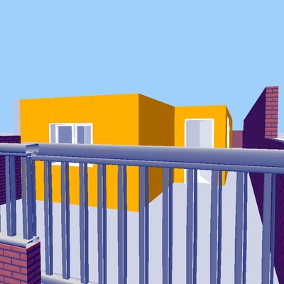 fachada con frontal en amarillo