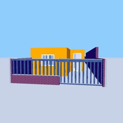 fachada con muro frontal