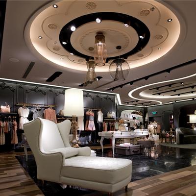 Diseño entero para tienda de moda con módulo de pared y escaparate de mdf